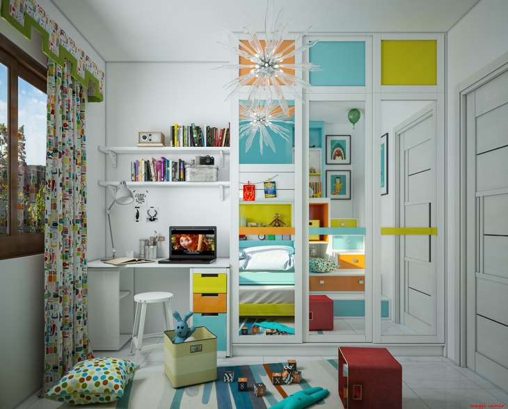 Colorful Bedroom Cupboard Idea