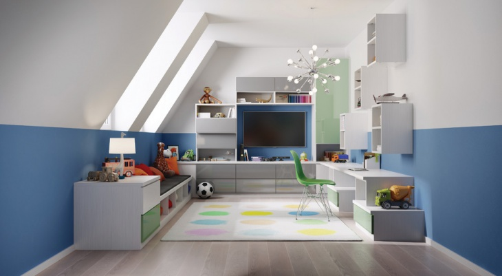 Blue and White Kids Playroom