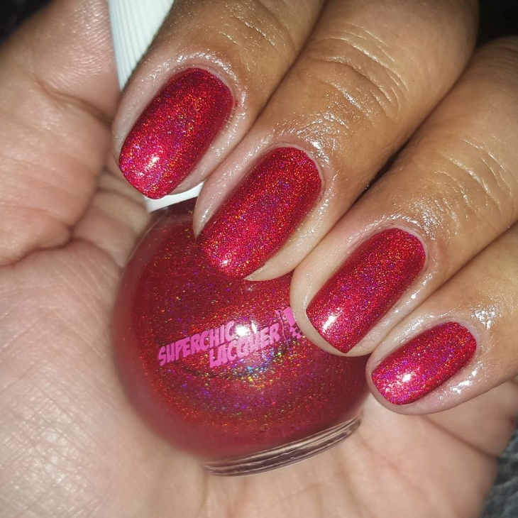 Shimmering Red Nails