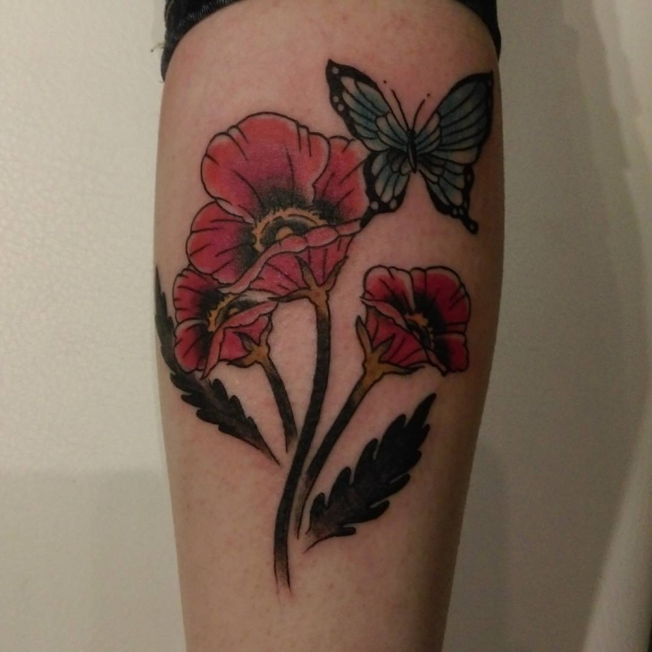 Flower with Butterfly Tattoo