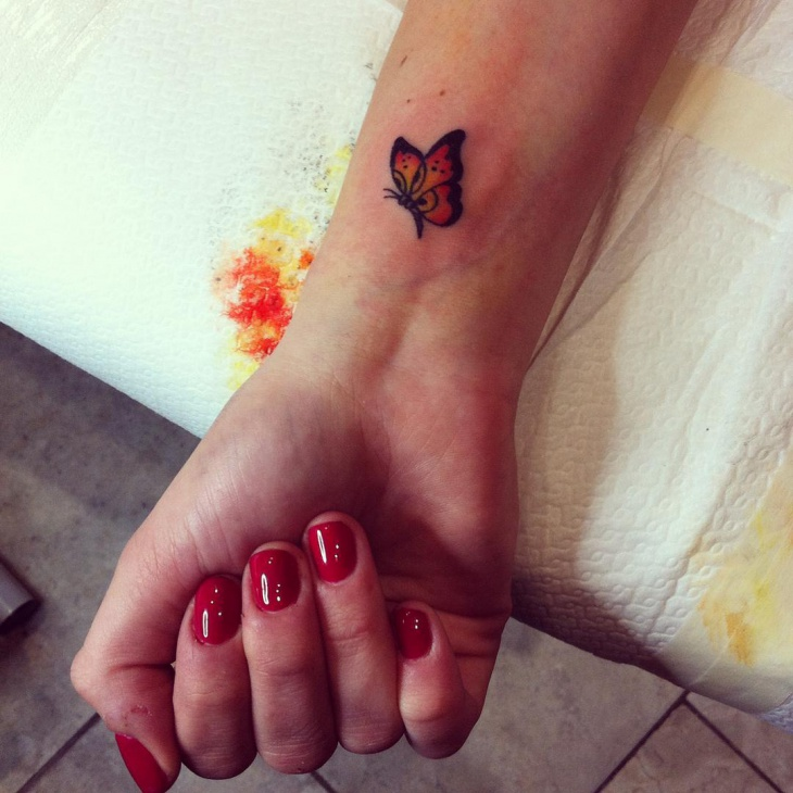 Small Butterfly Tattoo on Wrist