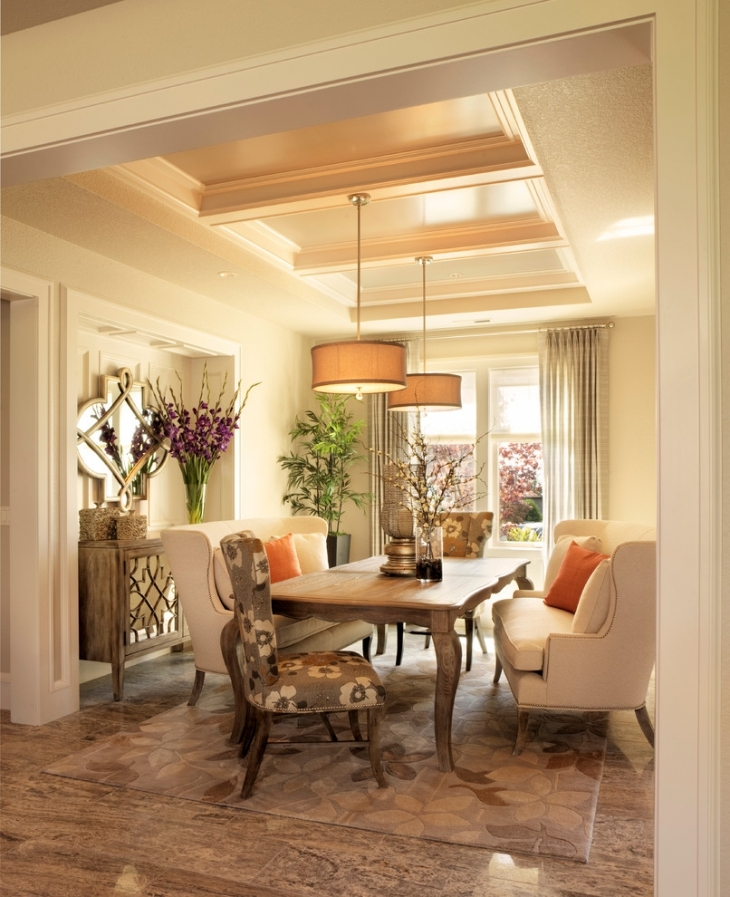 Elegant Dining Room Ceiling Interior