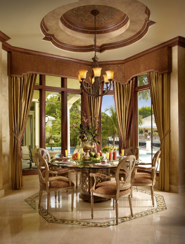 Dome Design Ceiling with Round Dining Table