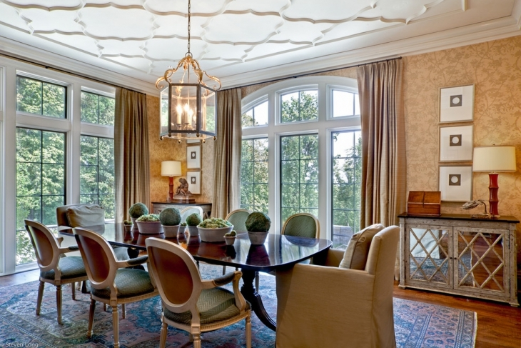 Dining Room with Quatrefoil Ceiling