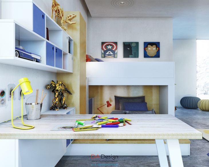 Kids Study Table With Shelves