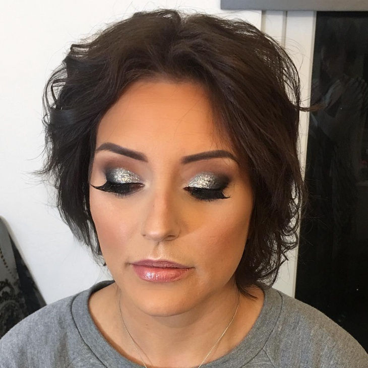 Silver Glitter Eye Makeup Design