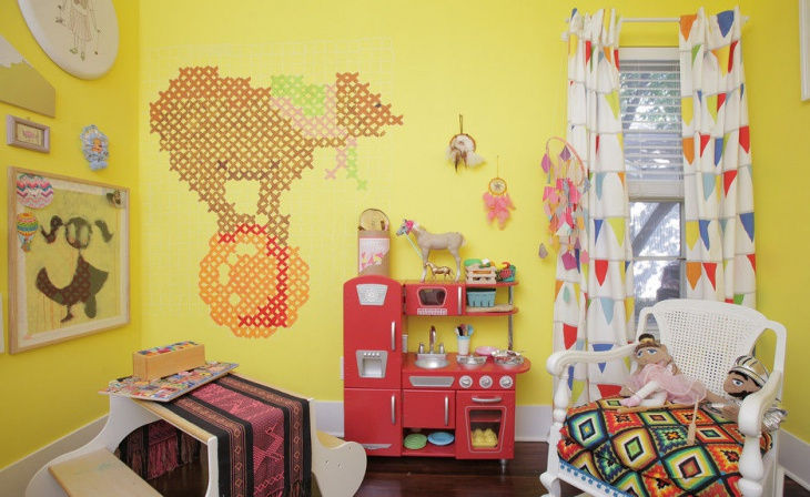 yellow wall design for kids room - Wall Design For Kids
