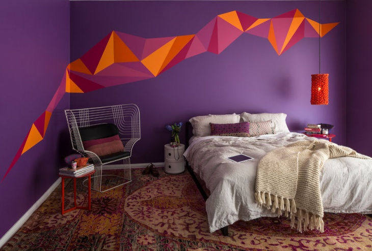 Bright Purple Retro Wall Paint Design