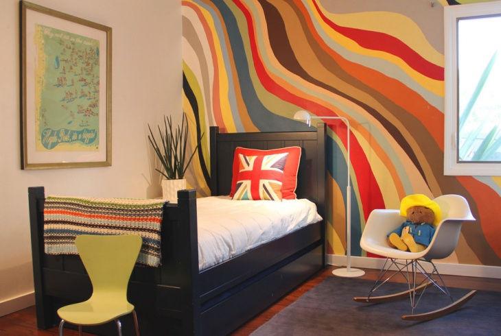 Kidu0027s Bedroom Retro Wall Paint Idea