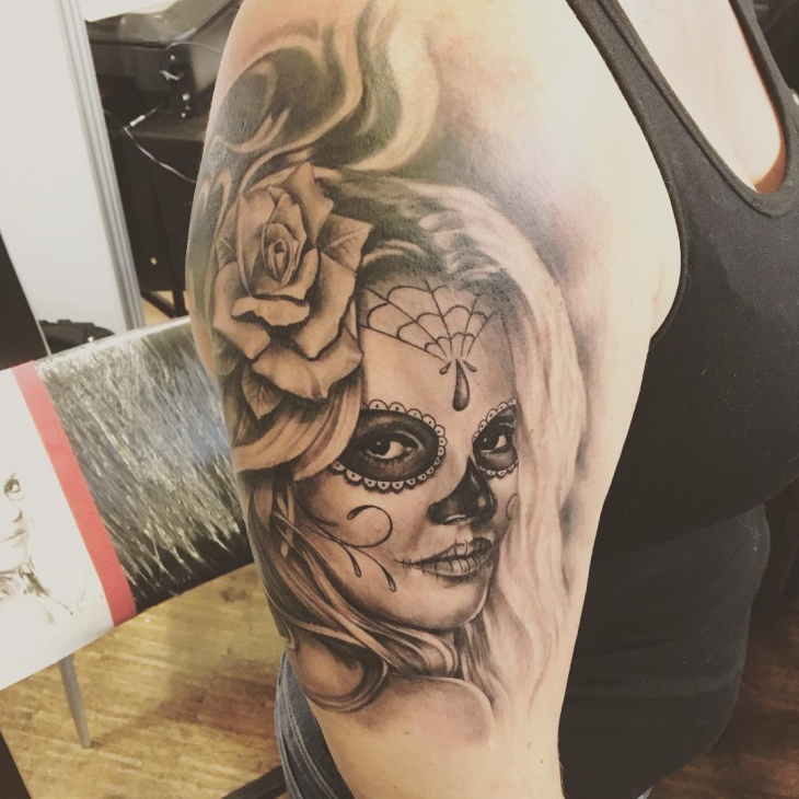 3D Girl Sleeve Tattoo