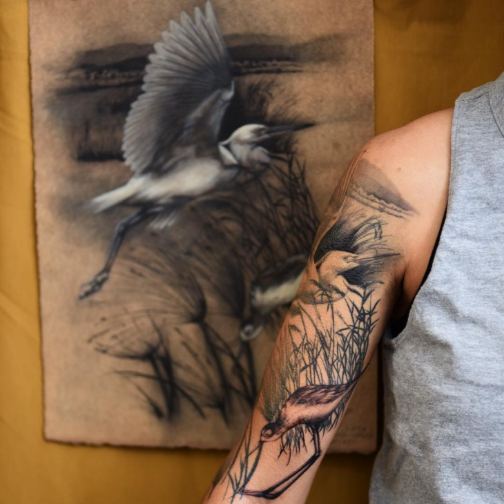 Bird Sleeve Tattoo Design
