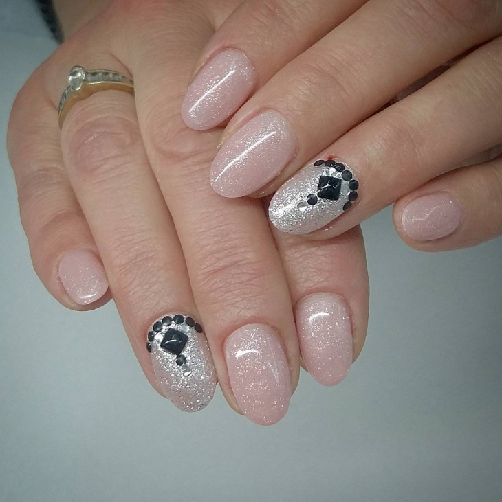 Simple Silver Glitter Nail Design
