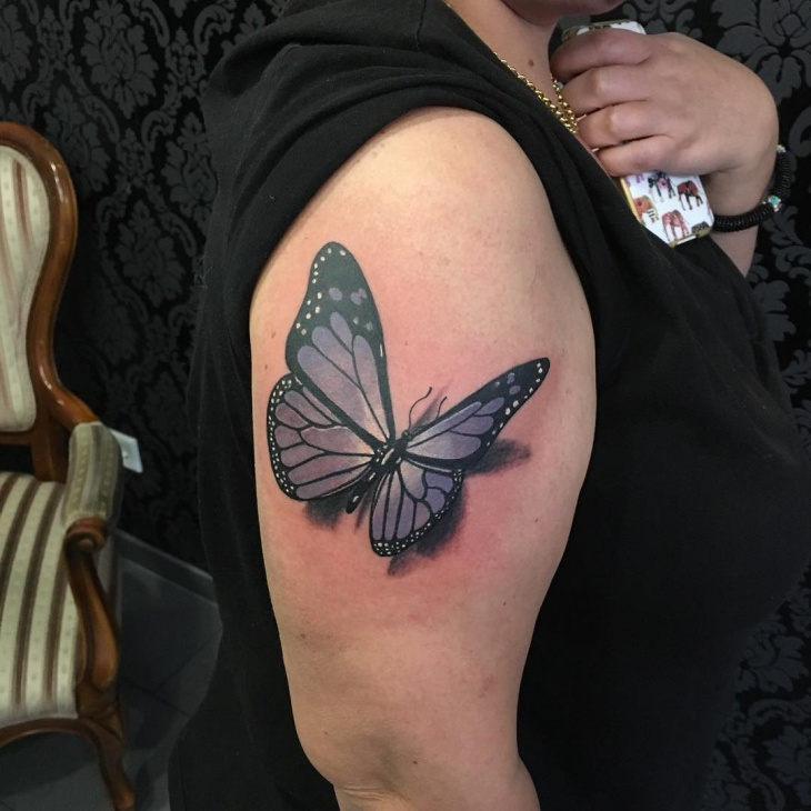 3D Butterfly Sleeve Tattoo