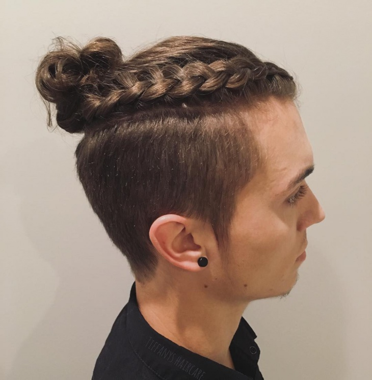 braided bun hairstyle for men