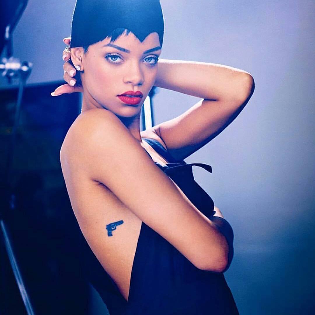 Rihanna Gun Tattoo