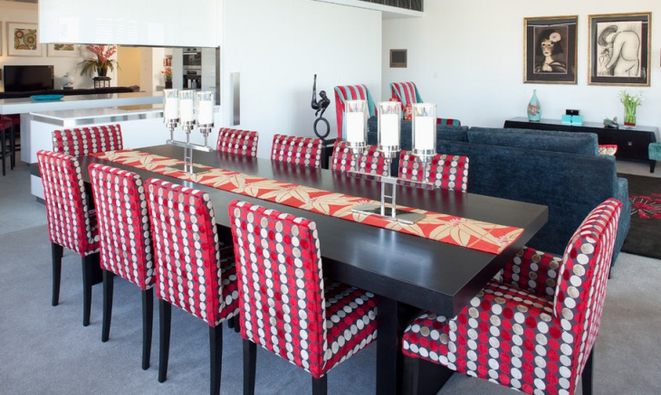 wooden dining table with colorful chairs