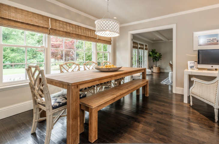 oak dining table with bench seating
