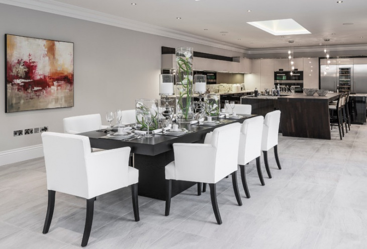 Black Dining Table with White Chairs