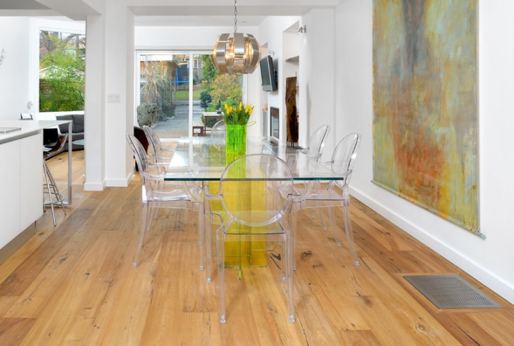 Modern Glass Dining Table with Glass Chairs