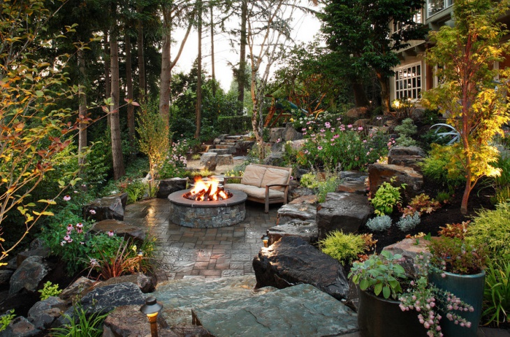 backyard landscaping idea with fire pit