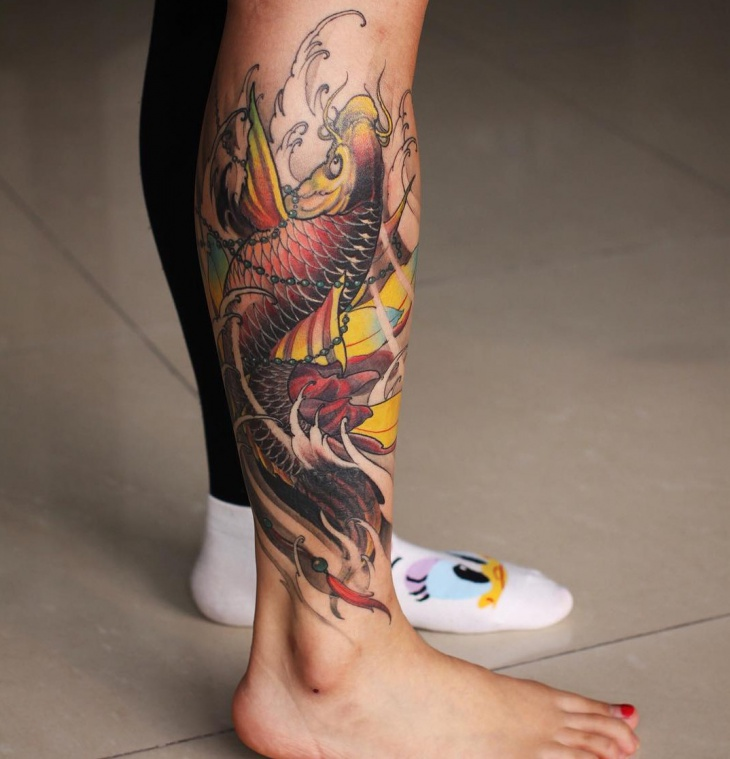 Koi Fish Tattoo Design on Leg