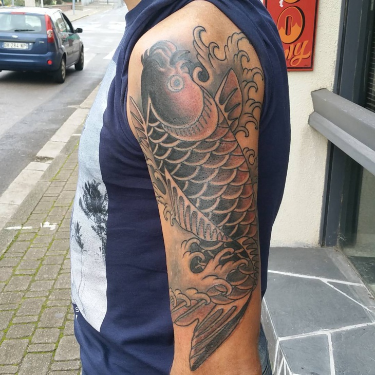 Traditional Koi Fish Tattoo Design