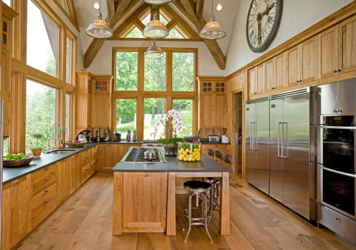 rustic wood commercial kitchen