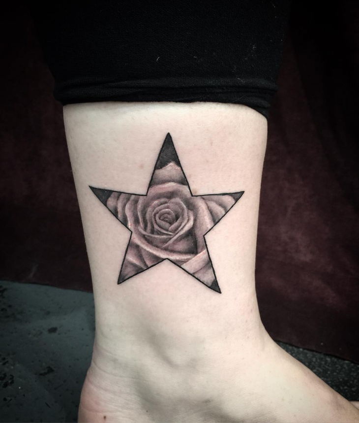 Rose Star Tattoo on Ankle