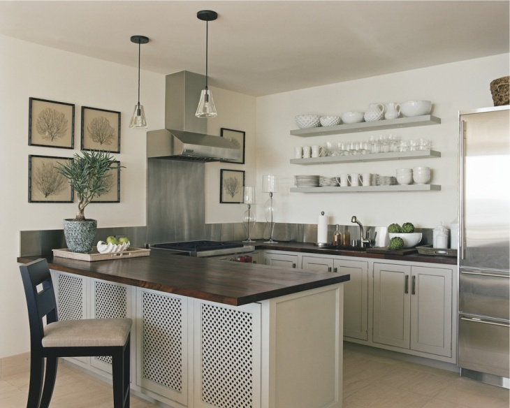 U Shaped Kitchen with Wooden Countertop