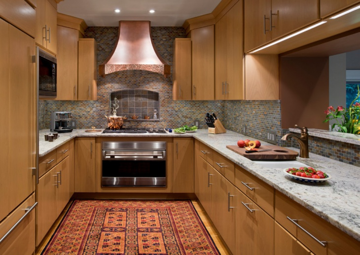 Wooden U Shaped Kitchen Design