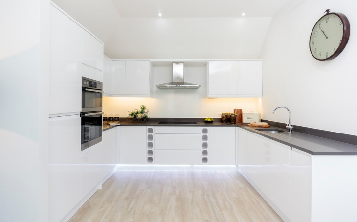White U Shaped Kitchen Design