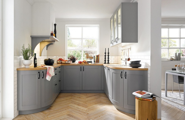 Grey and White U Shaped Kitchen