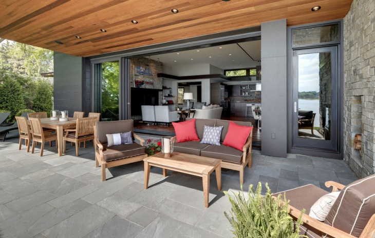 Contemporary Porch with Wooden Furniture