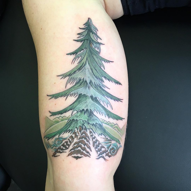 Green Tree Tattoo Design