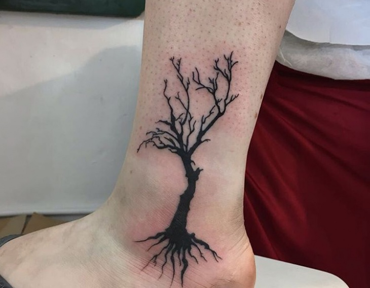 Tree Tattoo Design on Ankle