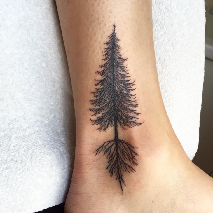 Black Work Tree Tattoo Design