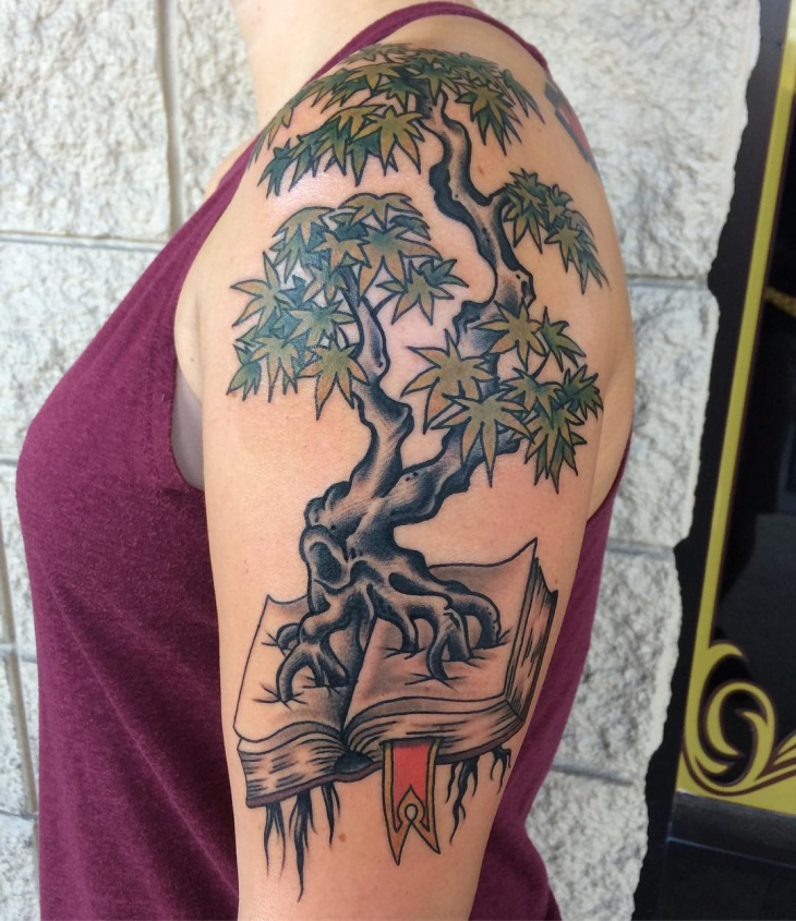 Half Sleeve Tree Tattoo Design