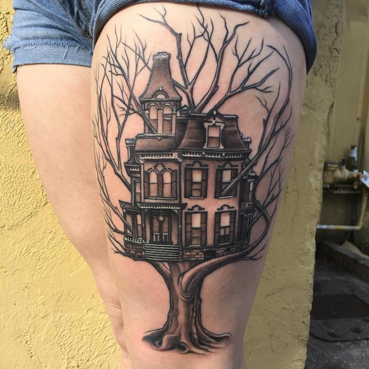Tree Tattoo Design on Thigh