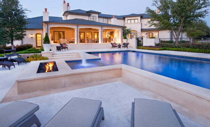 Modern Swimming Pool with Fireplace