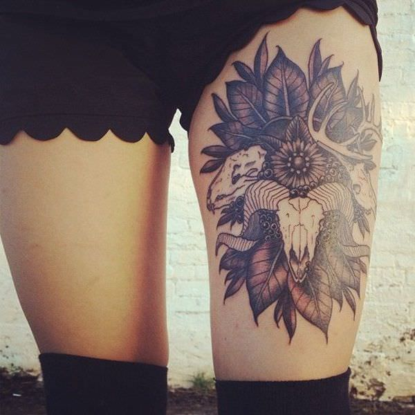 Skull Tattoo Designs for Girl thighs