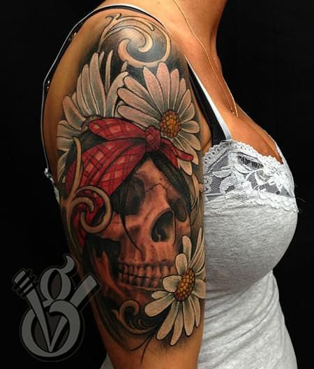 Skull Tattoo for Women Arm