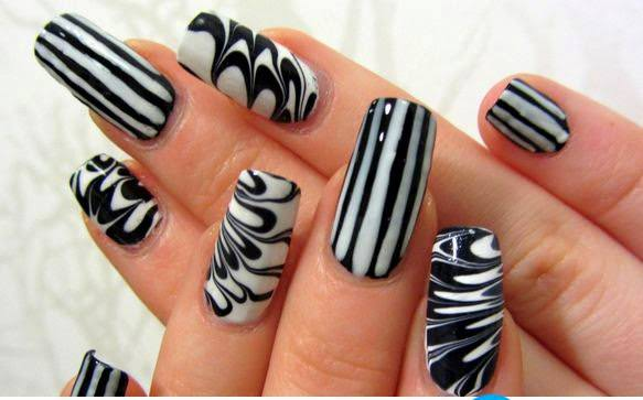 black and white nail art designs 12