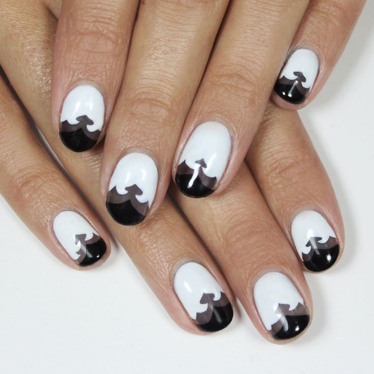 simple french tip manicure ideas black and white nail art designs top - Nail Tip Designs Ideas