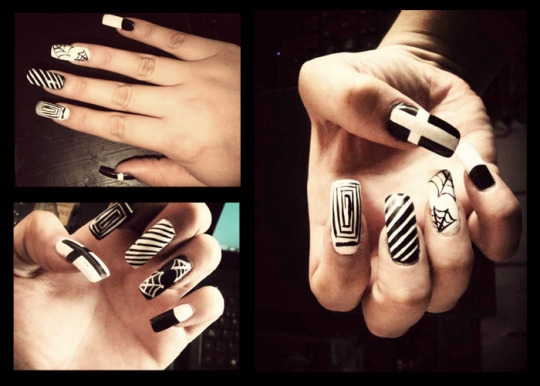black and white nail arts