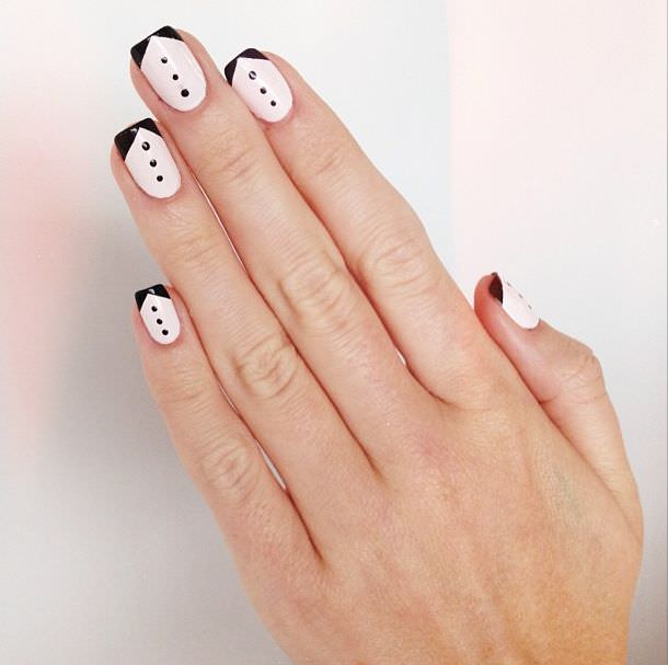 black tie nail art design
