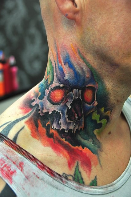 neck skull tattoo design
