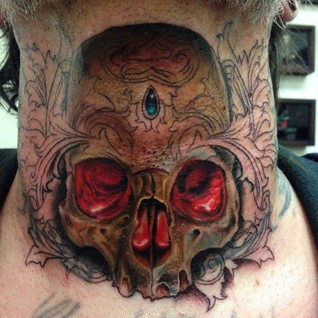 skull neck tattoo desing