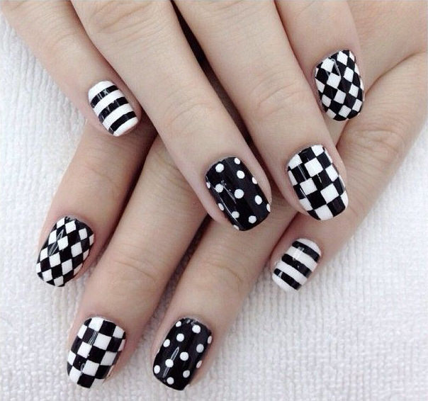 boxed black and white nail art design