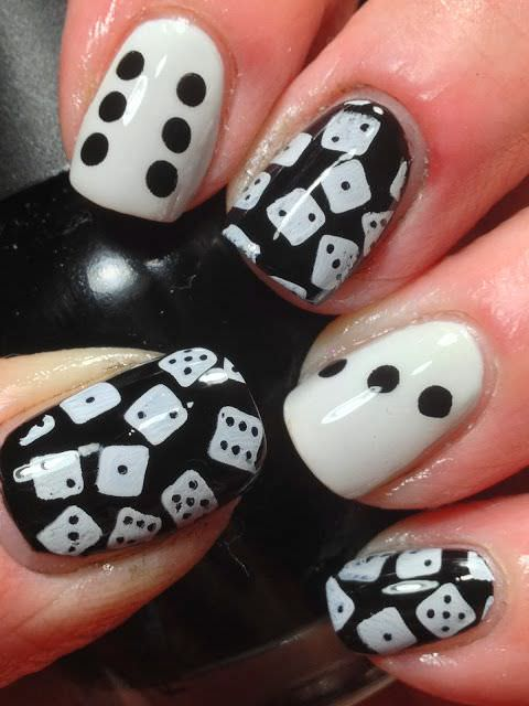dice black and white nail art design