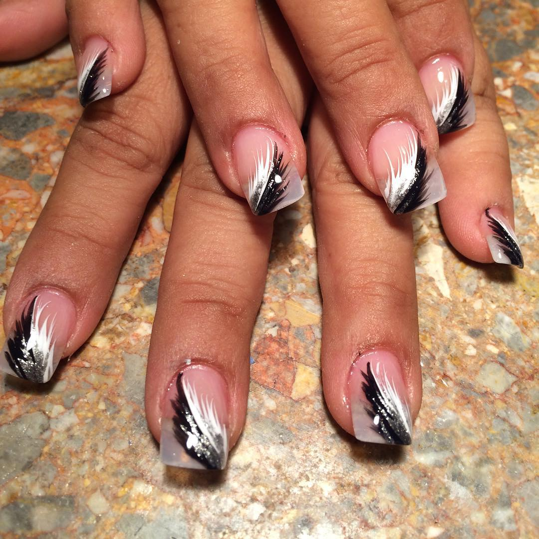 feature black and white nail designs